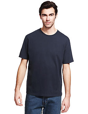 Big & Tall Pure Cotton Crew Neck T-Shirt, NAVY, catlanding