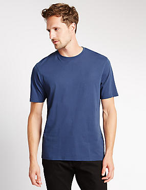 Pure Cotton Crew Neck T-Shirt, MED BLUE DENIM, catlanding