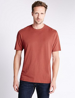 Big & Tall Pure Cotton Stay Soft T-Shirt with StayNEW™, TERRACOTTA, catlanding