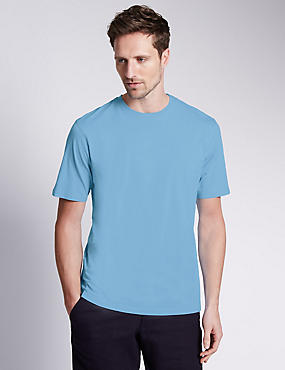 Pure Cotton Crew Neck T-Shirt, PALE BLUE, catlanding
