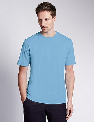 Big & Tall Pure Cotton Stay Soft T-Shirt with StayNEW™, PALE BLUE, catlanding