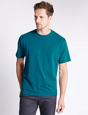 Big & Tall Pure Cotton Stay Soft T-Shirt with StayNEW™, DARK TEAL, catlanding