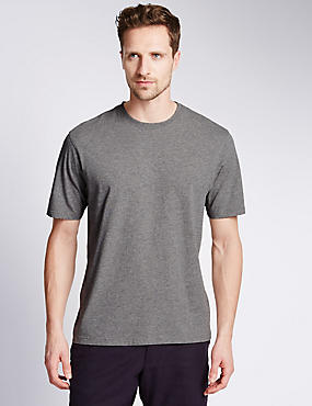 Pure Cotton Crew Neck T-Shirt, GREY MARL, catlanding