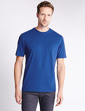 Pure Cotton Crew Neck T-Shirt, INDIGO, catlanding