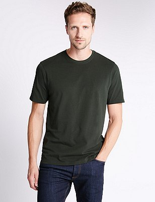 Big & Tall Pure Cotton Stay Soft T-Shirt with StayNEW™, FERN GREEN, catlanding