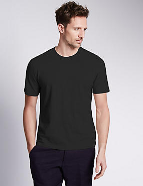 Big & Tall Pure Cotton Crew Neck T-Shirt, BLACK, catlanding