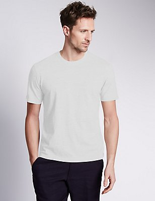 Big & Tall Pure Cotton Crew Neck T-Shirt, WHITE, catlanding