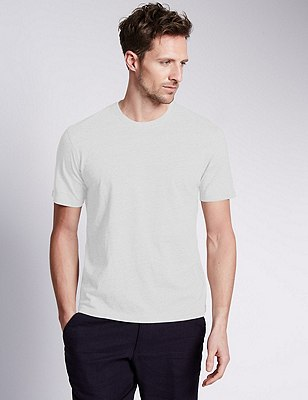 Big & Tall Pure Cotton Stay Soft T-Shirt with StayNEW™, WHITE, catlanding