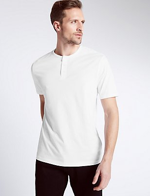 Pure Cotton Henley Crew Neck T-Shirt, WHITE MIX, catlanding