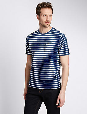 Pure Cotton Tailored Fit Striped T-Shirt