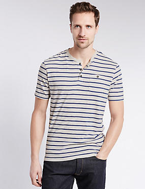 Pure Cotton Tailored Fit Henley Neck Striped T-Shirt