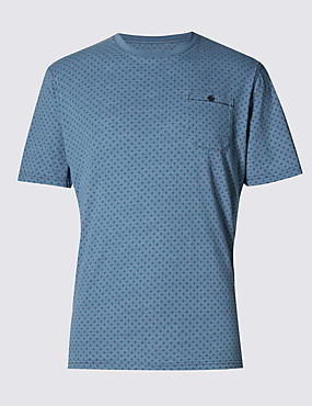 Pure Cotton Tailored Fit Geometric Print T-Shirt