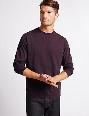 Pure Cotton Crew Neck T-Shirt, DEEP PURPLE, catlanding