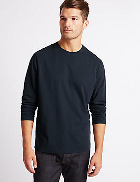 Pure Cotton Crew Neck T-Shirt, NAVY, catlanding
