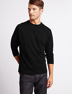 Pure Cotton Crew Neck T-Shirt, BLACK, catlanding