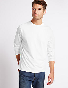 Pure Cotton Crew Neck T-Shirt, WHITE, catlanding