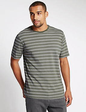 Pure Cotton Striped Stay Soft T-Shirt with StayNEW™, KHAKI MIX, catlanding