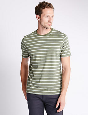 Pure Cotton Striped Stay Soft T-Shirt with StayNEW™ , KHAKI MIX, catlanding