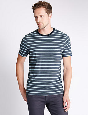 Pure Cotton Striped Stay Soft T-Shirt with StayNEW™, BLUE MIX, catlanding