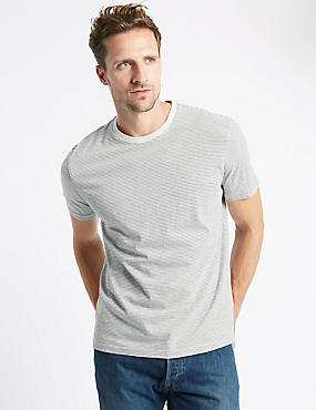 Pure Cotton Slim Fit Striped T-Shirt with StayNEW™, NATURAL MIX, catlanding