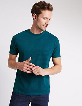 Pure Cotton Slim Fit Striped T-Shirt with StayNEW™, TEAL MIX, catlanding
