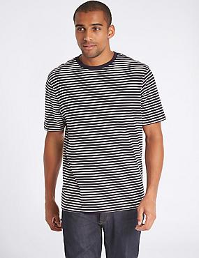 T-Shirt aus reiner Baumwolle mit Rundhalsausschnitt in Übergröße, MARINEBLAU MELANGE, catlanding