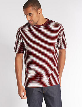 Pure Cotton Striped Crew Neck T-Shirt, RED MIX, catlanding