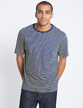 Pure Cotton Striped Crew Neck T-Shirt, BLUE MIX, catlanding