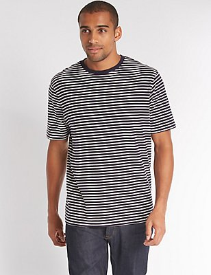 Big & Tall Pure Cotton Crew Neck T-Shirt, NAVY MIX, catlanding