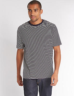 Pure Cotton Striped Crew Neck T-Shirt, , catlanding