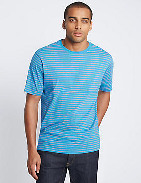 Pure Cotton Striped Crew Neck T-Shirt, TURQUOISE MIX, catlanding