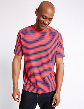 Pure Cotton Striped Crew Neck T-Shirt, BRICK, catlanding