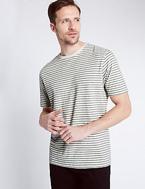 Pure Cotton Striped Crew Neck T-Shirt, ECRU MIX, catlanding