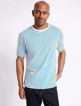 Pure Cotton Striped Crew Neck T-Shirt, WHITE MIX, catlanding