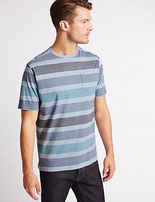 Pure Cotton Striped Crew Neck T-Shirt, ICE BLUE, catlanding