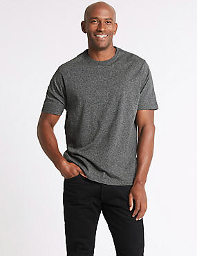 Pure Cotton Textured Crew Neck T-Shirt, CHARCOAL MIX, catlanding