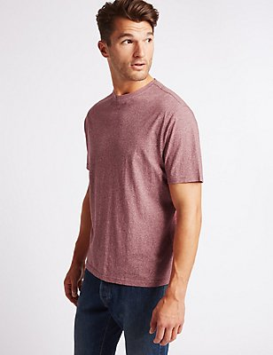 Pure Cotton Textured Crew Neck T-Shirt, DARK RASPBERRY, catlanding