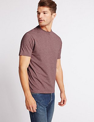 Pure Cotton Slim Fit Crew Neck T-Shirt, DARK RASPBERRY, catlanding