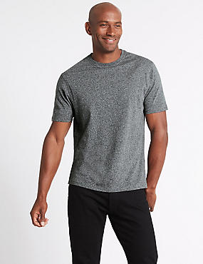 Pure Cotton Slim Fit Crew Neck T-Shirt, CHARCOAL, catlanding
