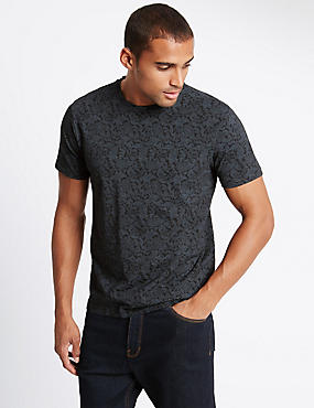 Pure Cotton Slim Fit Paisley T-Shirt, BLACK MIX, catlanding