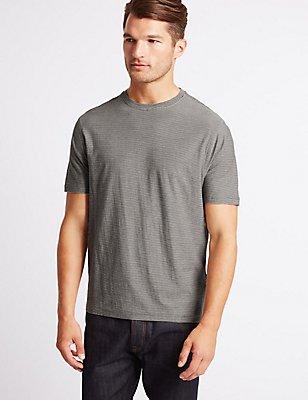 Grandes tailles– T-shirt 100% coton à encolure ronde, KAKI FONCÉ, catlanding