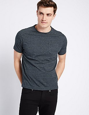 Slim Fit Striped Crew Neck T-Shirt, DENIM MIX, catlanding