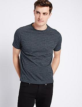 Schmal geschnittenes T-Shirt mit Rundhalsausschnitt und Streifen, DENIM MELANGE, catlanding