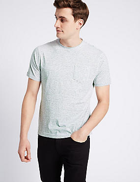 Slim Fit Striped Crew Neck T-Shirt, WHITE MIX, catlanding