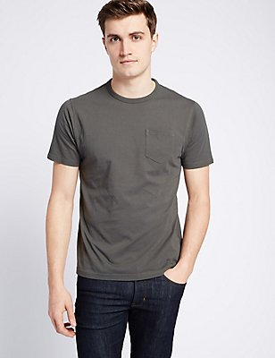 Slim Fit Pure Cotton Crew Neck T-Shirt, KHAKI, catlanding