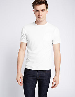 Slim Fit Pure Cotton Crew Neck T-Shirt, WHITE, catlanding