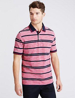 Pure Cotton Striped Polo Shirt, PINK MIX, catlanding