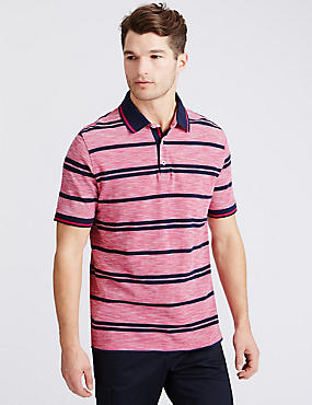 Pure Cotton Striped Polo Shirt, PINK MIX, catlanding