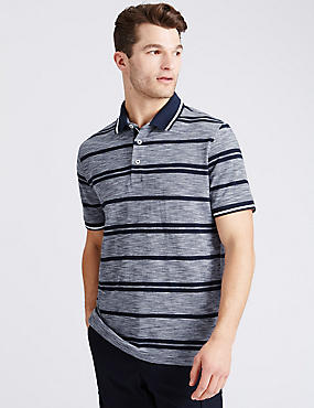 Slim Fit Pure Cotton Striped Polo Shirt, NAVY MIX, catlanding