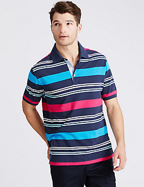 Big & Tall Pure Cotton Striped Polo Shirt, NAVY MIX, catlanding